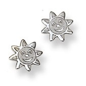 Smiling Sunshine Stud Baby Earrings in 14K White Gold - #AD-075W