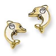 CZ Accent Dolphin Stud Baby Earrings in 14K Yellow Gold - #AD-084