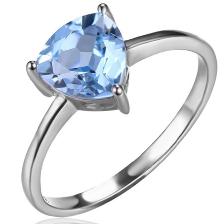 1 1/2 CT Trillion Blue Topaz  Cocktail Ring in .925 Sterling Silver - Size 6 - #BMS170122