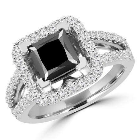 Princess Cut Black Diamond Multi-Stone Split-Shank V-Prong Vintage Halo Engagement Ring with Round White Diamond Scallop-Set Accents in White Gold - #HR6264-W-BLK