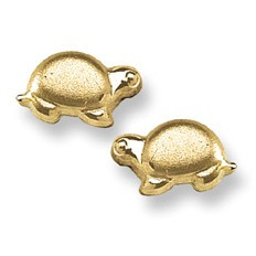 Baby Turtle Stud Baby Earrings in 14K Yellow Gold - #AD-090
