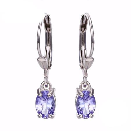1 1/20 CTW Pear Purple Tanzanite Solitaire Drop/Dangle Earrings in .925 Sterling Silver - #BMS170172