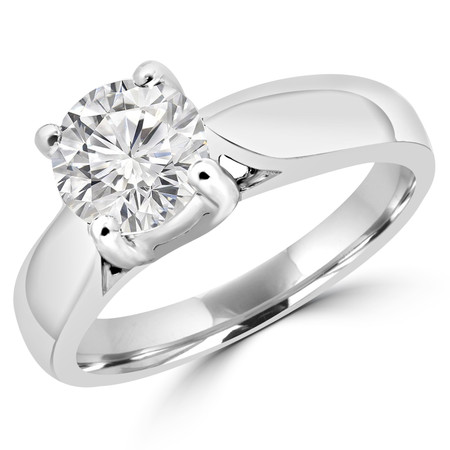 Round Diamond Solitaire Cathedral Engagement Ring in White Gold - #1893L-W