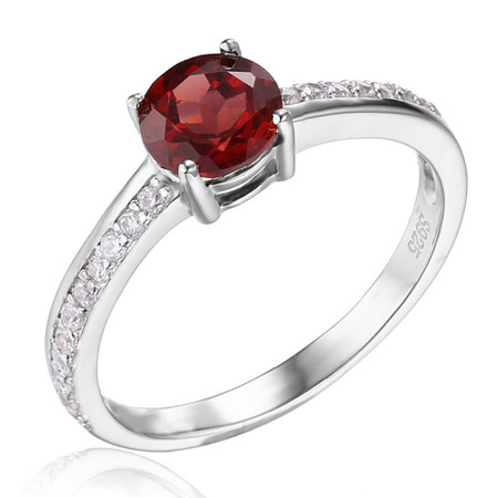 1 1/3 CTW Oval Red Garnet  Cocktail Ring in .925 Sterling Silver - Size 6 - #BMS170177