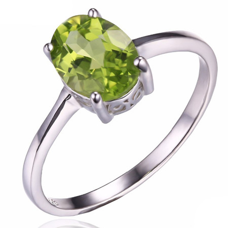 1 1/2 CT Oval Green Peridot  Cocktail Ring in .925 Sterling Silver - Size 6 - #BMS170208