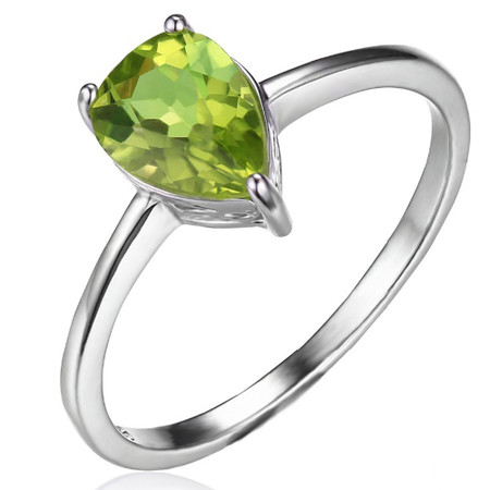 1 1/3 CT Pear Green Peridot  Cocktail Ring in .925 Sterling Silver - Size 6 - #BMS170216