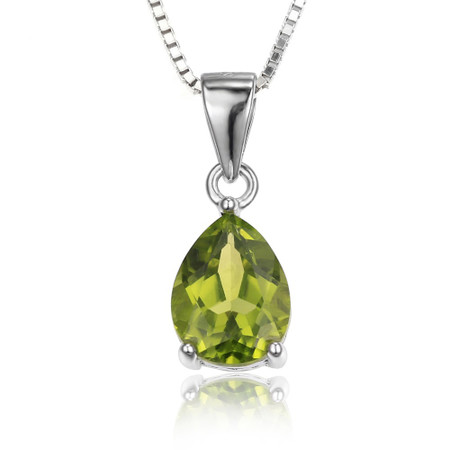 1 1/2 CT Pear Green Peridot  Solitaire Pendant Necklace in .925 Sterling Silver With Chain - #BMS170220