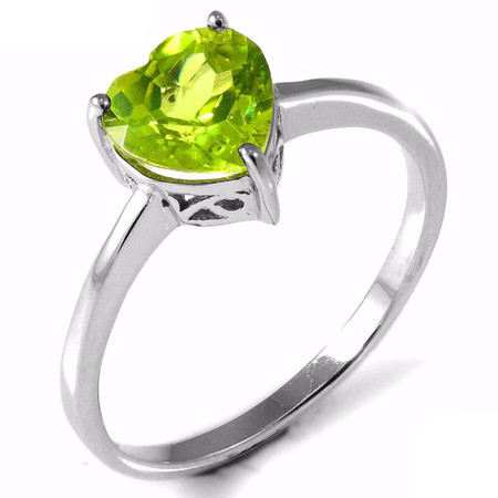 1 1/3 CT Heart Green Peridot  Cocktail Ring in .925 Sterling Silver - Size 6 - #BMS170221