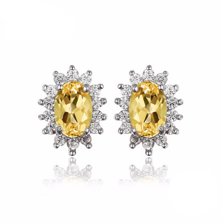 1 1/10 CTW Oval Yellow Citrine Halo Stud Earrings in .925 Sterling Silver - #BMS170243