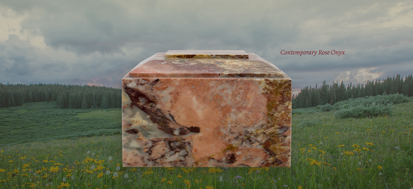 Contemporary Rose Onyx Marble Cremation Urn