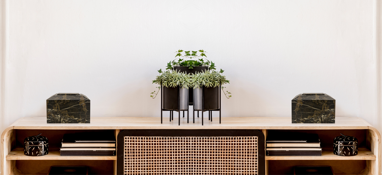 Contemporary Golden Portoro Marble Cremation Urn