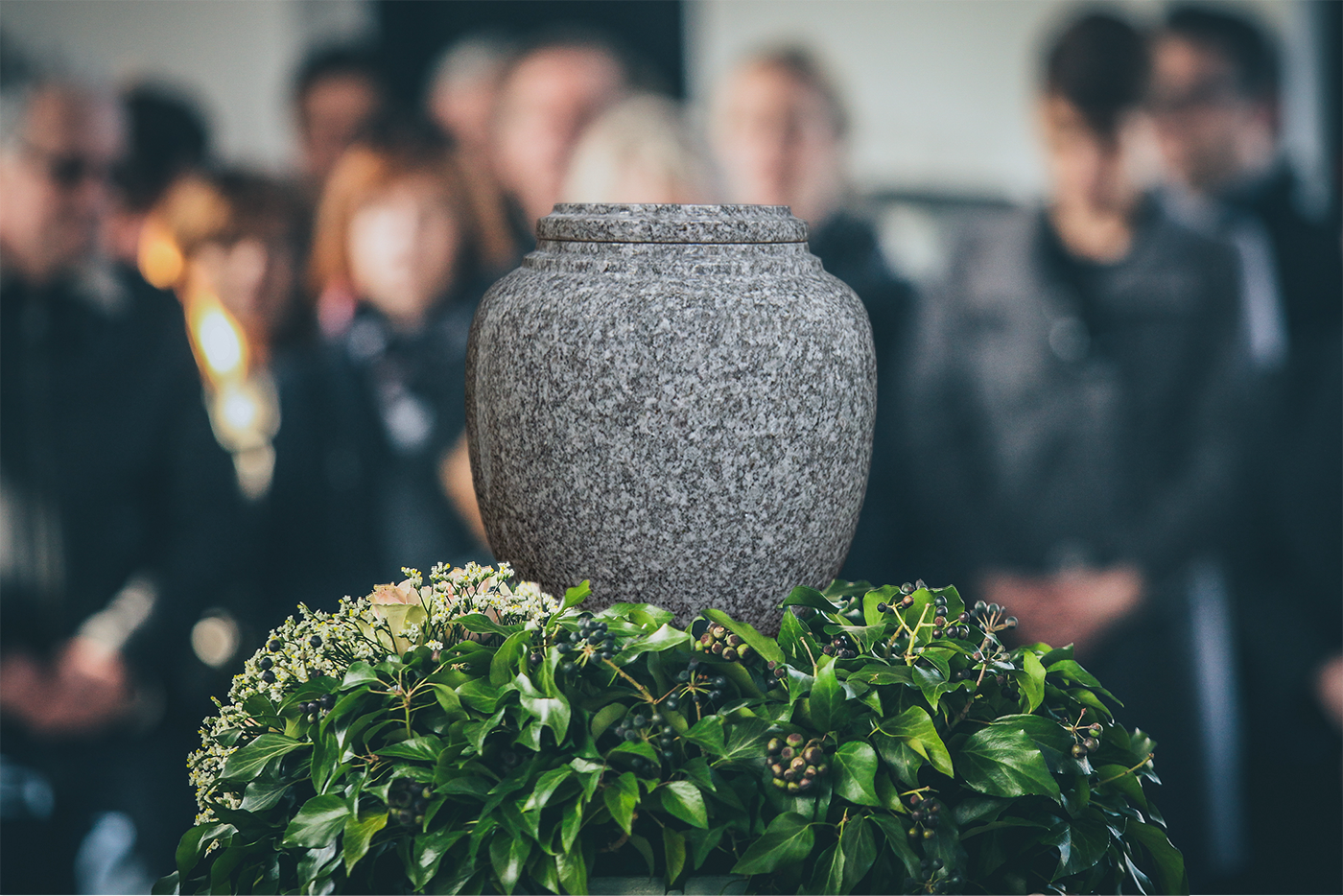 Everlasting Grey Granite Traditional Cremation Urn for Ashes