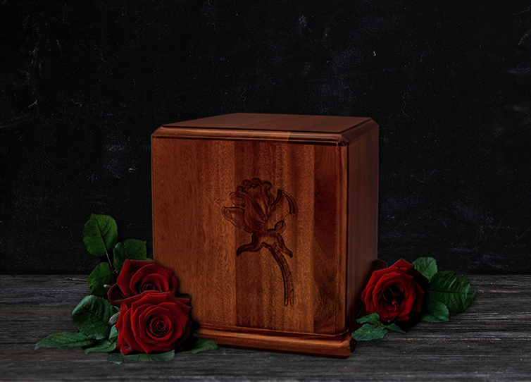 Mahogany Wood Rose Carved Box Cremation Urn for Ashes