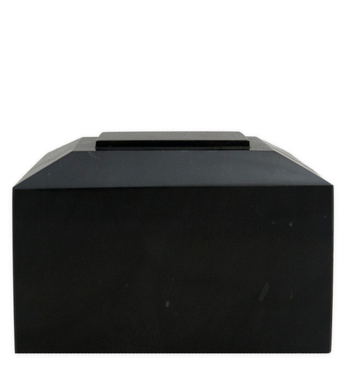 Contemporary Black Marble Cremation Urn for Ashes - Full Size Front View
