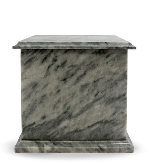 Modern Grey Marble Cremation Urn - The Cloud Grey Marble Urn is crafted from beautiful natural marble. Each urn is perfectly carved from a solid piece of marble and polished to shine. The main characteristic of this grey marble are irregular veining of grey and white.  Quarried and made from 100% real natural marble. Hand crafted from a solid piece of marble and polished to shine. Because it is natural, the color and pattern in each urn will vary.  The bottom is lined with felt to prevent scratches and provide stability and includes a threaded lid to secure ashes.  It's the perfect vessel as a keepsake for display in your home, niche, funeral, columbarium, burial, scattering ashes, or as a reminder and in remembrance of their love and spirit.