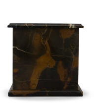 Modern Golden Portoro Marble Cremation Urn - Each unique marble urn blends black, cream, warm brown, gold and copper tones with marble veining, is generously polished for a high gloss finish. A classic stone, marble has been valued for centuries Egyptians, Greeks and Romans for its natural beauty, strength and durability. Quarried and made from 100% real natural marble. Hand crafted from a solid piece of marble and polished to shine. Because it is natural, the color and pattern in each urn will vary.  The bottom is lined with felt to prevent scratches and provide stability and includes a threaded lid to secure ashes.  It's the perfect vessel as a keepsake for display in your home, niche, funeral, columbarium, burial, scattering ashes, or as a reminder and in remembrance of their love and spirit.  Memory Cremation Urns