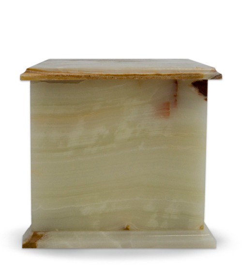 Modern Jade Green Onyx Marble Cremation Urn - Jade Green Onyx is unique and elegant with its distinctive light green with rust and white veins. This colors and veining is moderately irregular, but it is what defines the uniqueness of this stone.  Quarried and made from 100% real natural marble. Hand crafted from a solid piece of marble and polished to shine. Because it is natural, the color and pattern in each urn will vary.  The bottom is lined with felt to prevent scratches and provide stability and includes a threaded lid to secure ashes.  It's the perfect vessel as a keepsake for display in your home, niche, funeral, columbarium, burial, scattering ashes, or as a reminder and in remembrance of their love and spirit.  Memory Cremation Urns