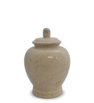 ETERNAL NATURAL BEIGE MARBLE KEEPSAKE URN FOR ASHES - SMALL