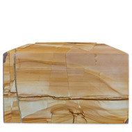 Contemporary Burma Teakwood Marble Cremation Urn for Ashes - Full Size (Adult) FRONT VIEW