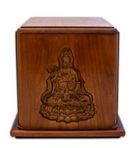 Mahogany Wood Buddha Cremation Urn