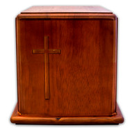 Mahogany Wood Cross Cremation Urn
