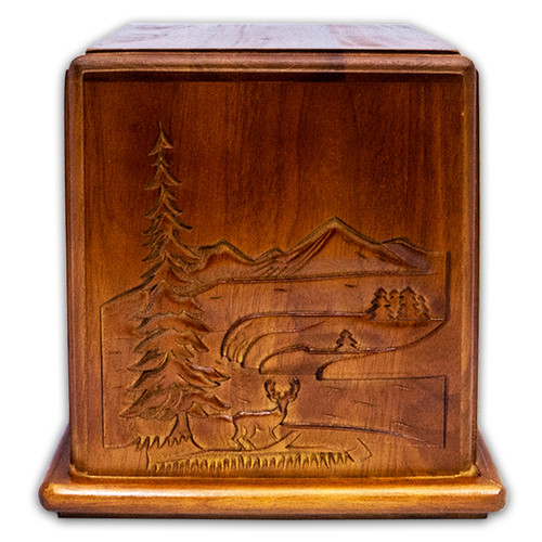 Mahogany Wood Mountain Cremation Urn