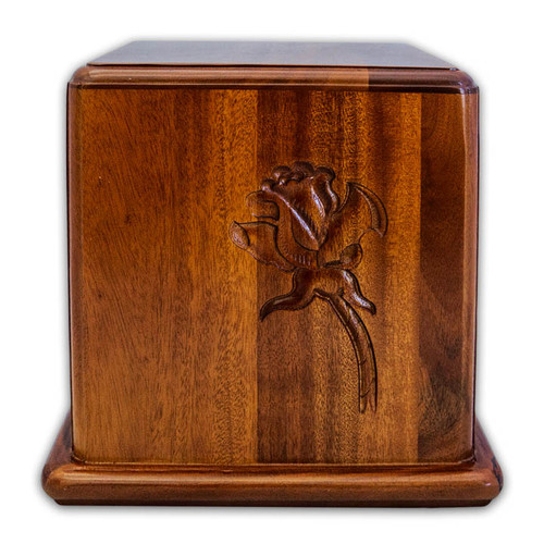 Mahogany Wood Box with Rose Cremation Urn for Ashes