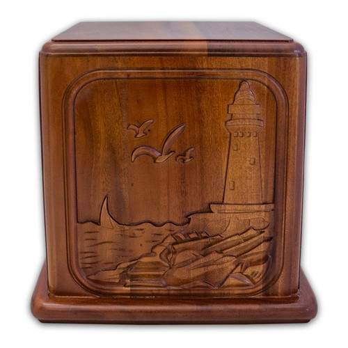 Mahogany Wood with Lighthouse Cremation Urn