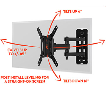 it tilts, swivels, and extends effortlessly to give your computer screen or smal tv smooth moves