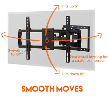 This mount swivels, tilts, extends, and retracts so you get the perfect view in your living room