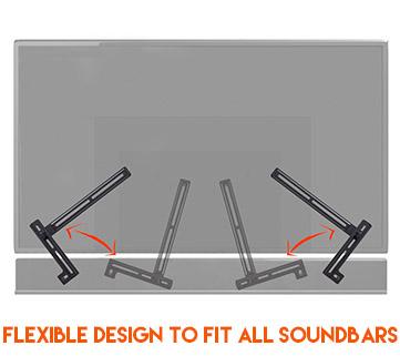 Designed to accomodate almost all soundbar mounting holes even extra wide holes like on Vizio or Sonos soundbars