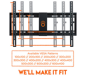 this tv wall mount fits with almost any VESA pattern