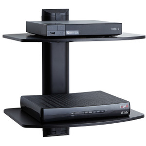 Steel shelves are perfect for holding TV components below your wall-mounted TV.