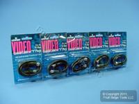 """5 Leviton Black 18"""" Coaxial Video Cables RG59 C5851-1E"""