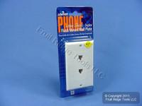 20 Leviton Decora White 6-Wire DUAL Phone Jack Wallplates C2647-W