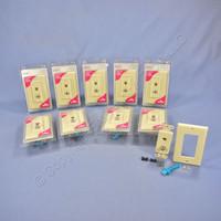 10 New Leviton Ivory Decora Quickport CATV Cable & Phone Jack Wallplates 41658-I