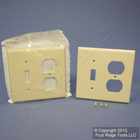 2 Leviton Almond Switch Plate Receptacle Outlet Cover Wallplates Switchplates 82005