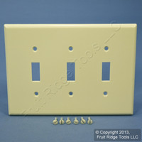 New Leviton Almond MIDWAY 3-Gang Toggle Switch Cover Plastic Wallplate 80511-A