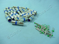 25 Blue Leviton Compression RCA Connectors RG6 Coaxial Cable Universal 40985-CRL