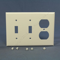 Eagle White 3-Gang Toggle Switch Duplex Receptacle Outlet Thermoset Wallplate Cover 2158W