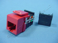 Leviton Crimson Red Cat 3 Quickport Jack Cat3 RJ45 Telephone 41108-RC3