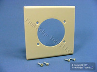 """New Leviton Ivory 2.465"""" Power Outlet Receptacle 2-Gang Cover Plastic Wallplate 80530-I"""
