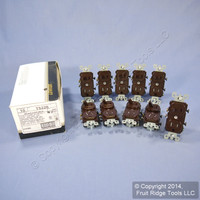 10 Leviton Brown TAMPER RESISTANT COMMERCIAL Wall Toggle Light Switches Outlet Receptacle 15A T5225