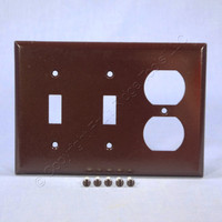 Eagle Brown 3-Gang Toggle Switch Duplex Receptacle Outlet Thermoset Wallplate Cover 2158B