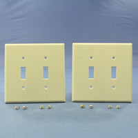 2 New Leviton Almond MIDWAY 2-Gang Switch Cover Wall Plates Switchplates 80509-A
