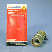 Ace Push Through Light Socket Brass Lamp Holder Electrolier 1/8 IPS Bushing 31188