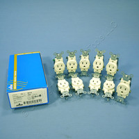 10 Leviton Almond COMMERCIAL Grade Straight Blade Single Outlet Receptacles NEMA 5-15R 15A 125V 2P3W 5015-A