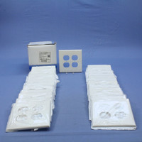 25 Leviton White LARGE UNBREAKABLE Receptacle Wallplates 2-Gang Duplex Outlet Covers PJ82-W