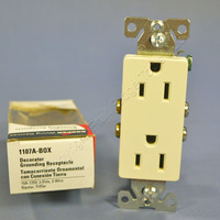 Cooper Almond Decorator Outlet Duplex Receptacle NEMA 5-15R 15A 125V 1107A Boxed