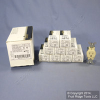 10 Leviton Ivory TAMPER RESISTANT COMMERCIAL Single Outlet Receptacles 15A T5015-I